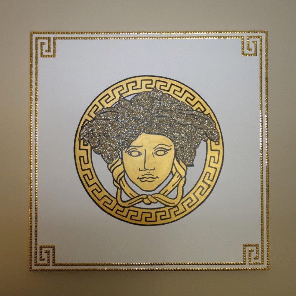 Versace Medusa Painting 36X36 Glitter & Studs Versace for Versace Wall Art
