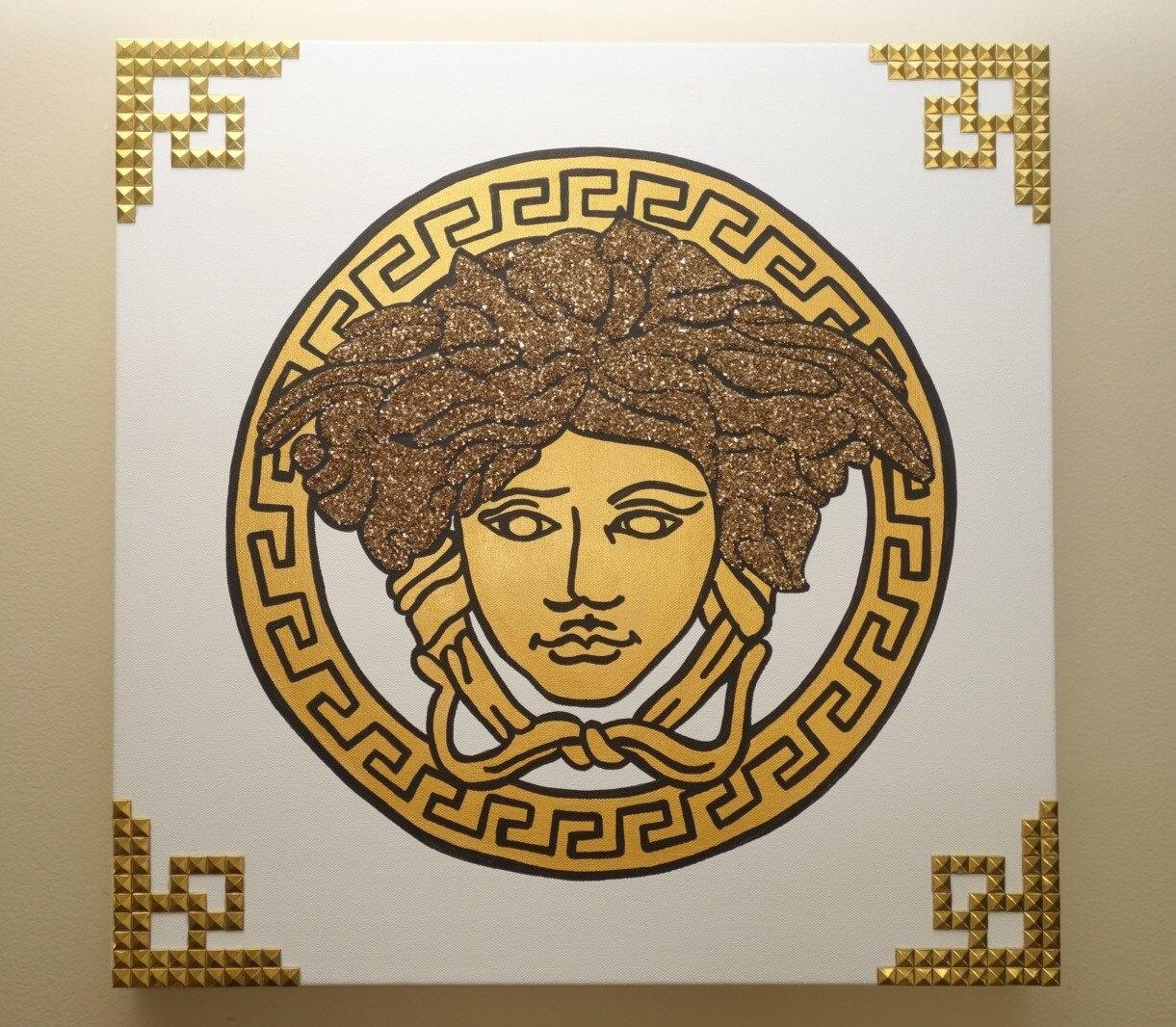 Versace Painting 20X20 Medusa Glitter & Rivets Pop Art within Versace Wall Art