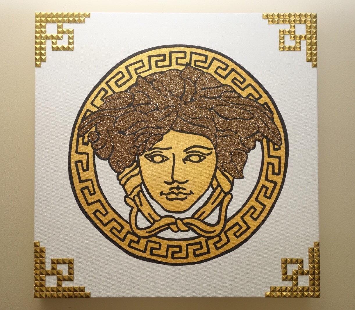 Versace Painting 20X20 Medusa Glitter & Rivets Pop Art Within Versace Wall Art (View 4 of 20)