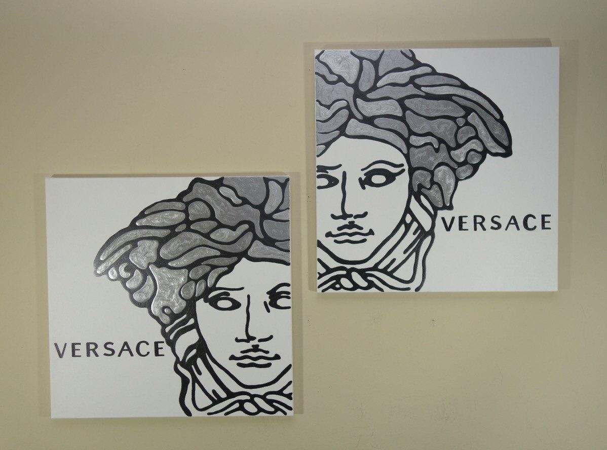 Versace Painting Set Of Two Each 20X20 Silver Painting In Versace Wall Art (Image 17 of 20)