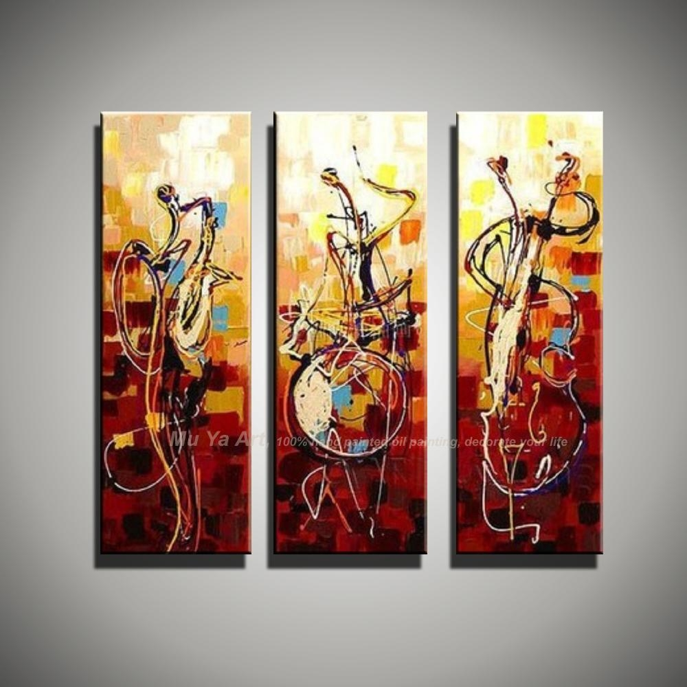 Vertical Music Art Knife Painting Canvas Abstract Modern 3 Piece In 3 Piece Abstract Wall Art (Image 18 of 20)