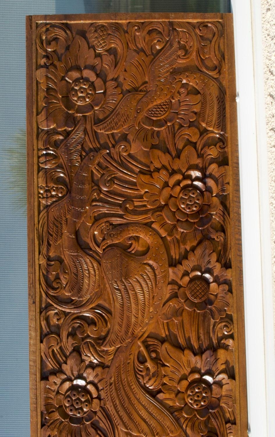 Vertical Panel With A Cut Out At Bottom Left Balinese Teak With Regard To Balinese Wall Art (Image 17 of 20)