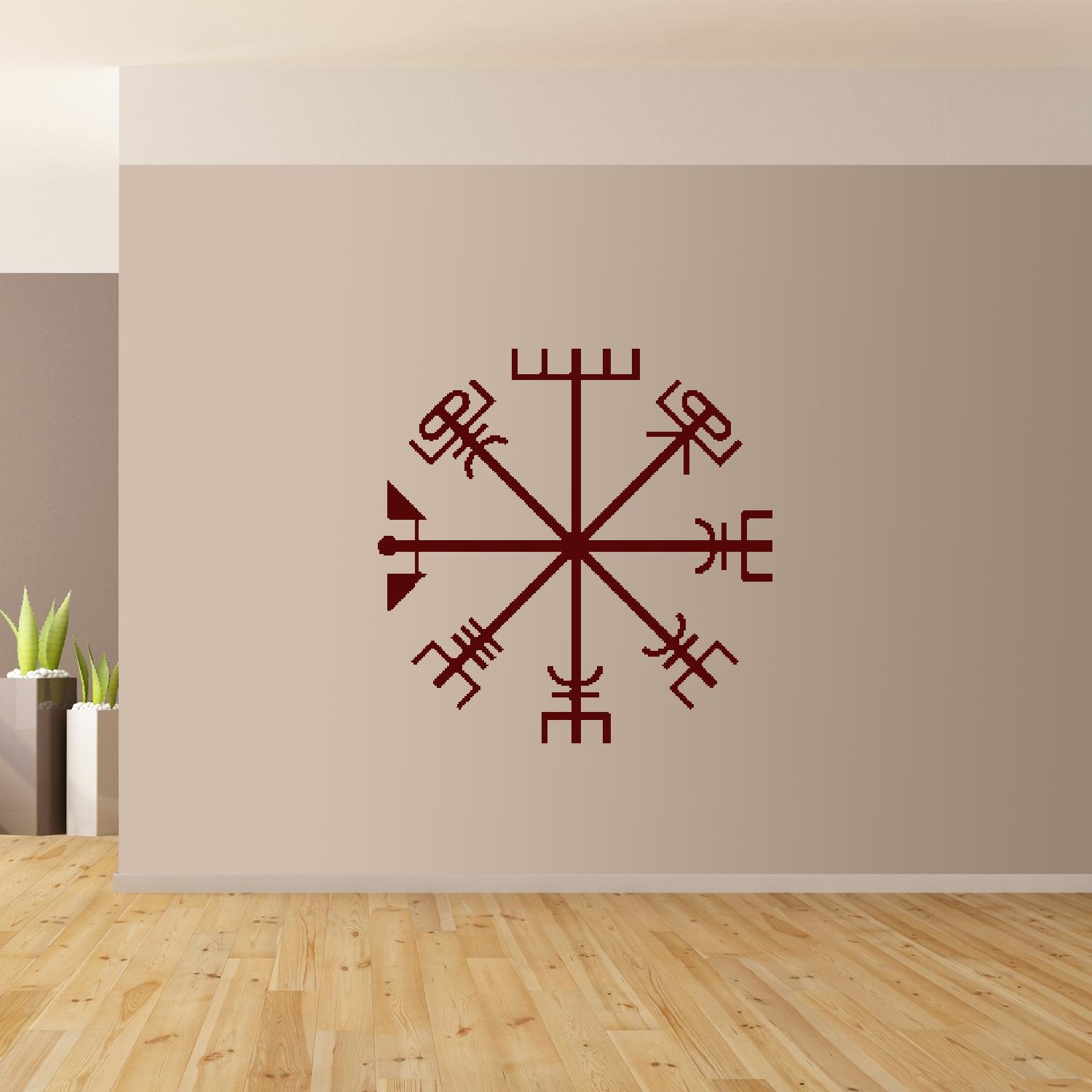 Viking Compass Wall Art Giant Sticker Mural Graphic Wallart with Burgundy Wall Art