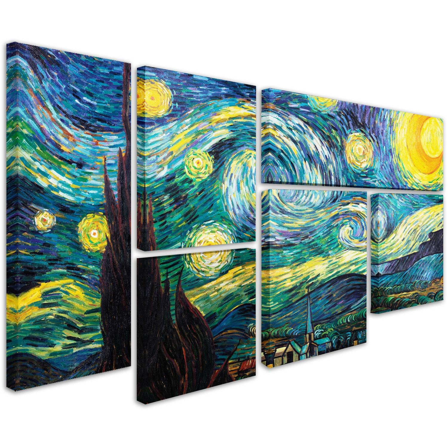 Vincent Van Gogh 'starry Night' Multi Panel Art Set – Walmart With Regard To Multiple Piece Wall Art (Image 12 of 20)