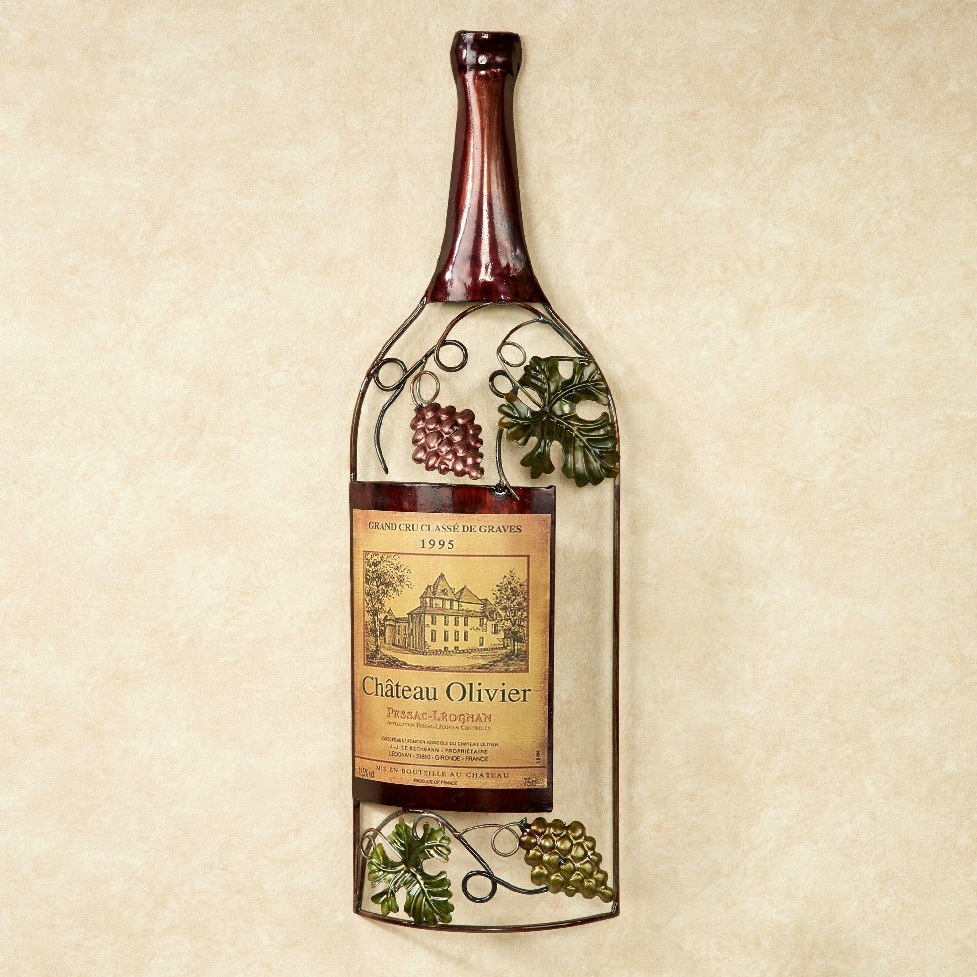 Vineyards Finest Wine Bottle Metal Wall Art Throughout Wine Metal Wall Art (Image 12 of 20)