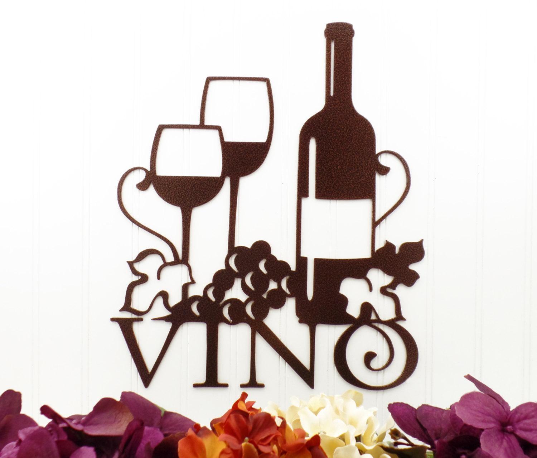 Vino Metal Sign Copper Vein 13W X 15H Laser Inside Wine Metal Wall Art (View 10 of 20)