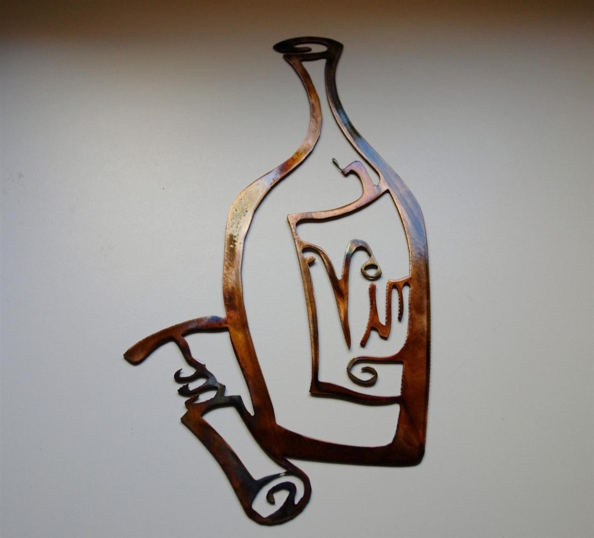 Vino! Metal Wall Art Decor, Wine Bottle And Opener Copper & Bronze Regarding Wine Metal Wall Art (Image 14 of 20)