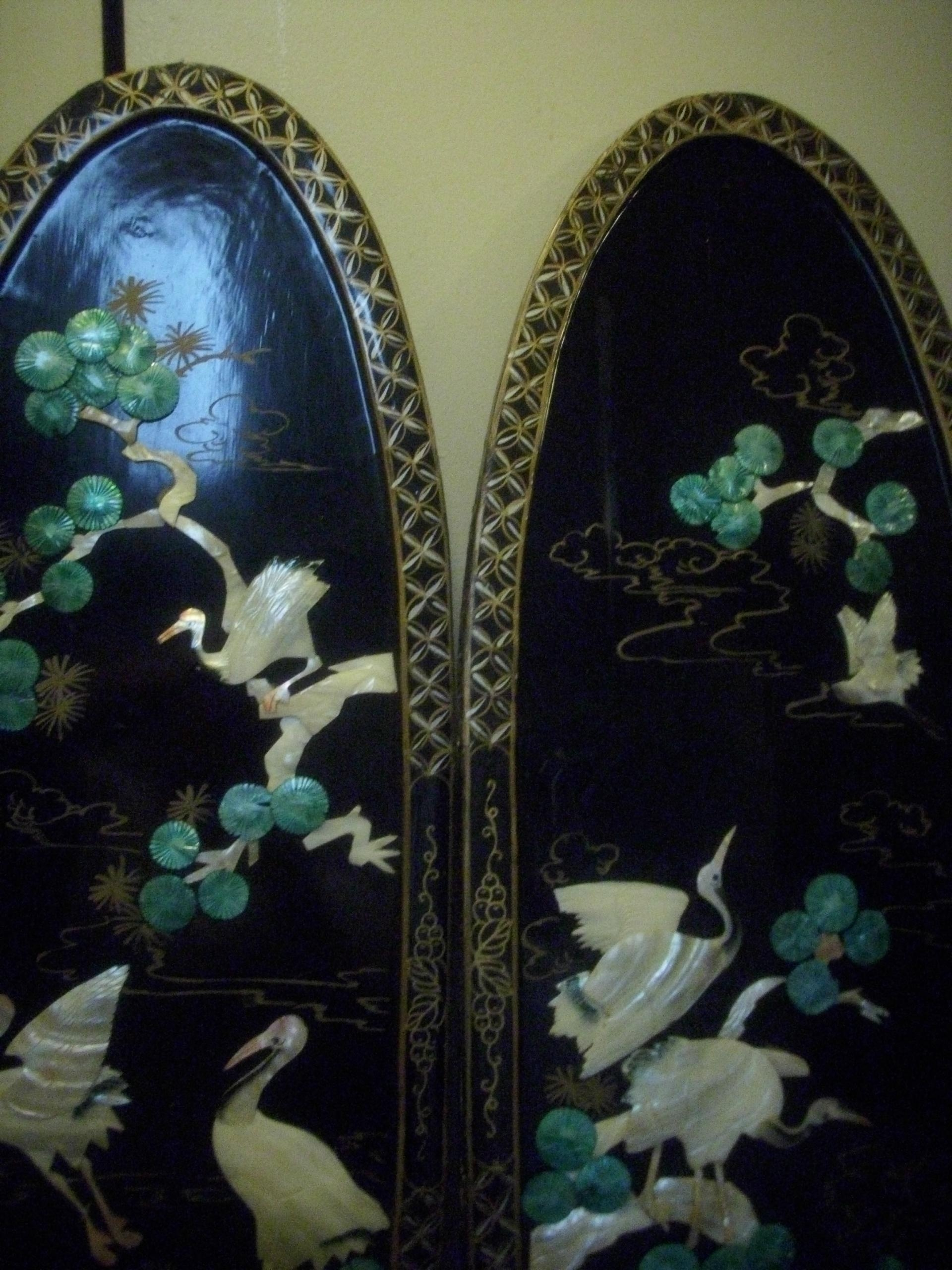 Vintage Black Lacquered Chinese Carved Shell Mother Of Pearl Wall Throughout Mother Of Pearl Wall Art (View 11 of 20)