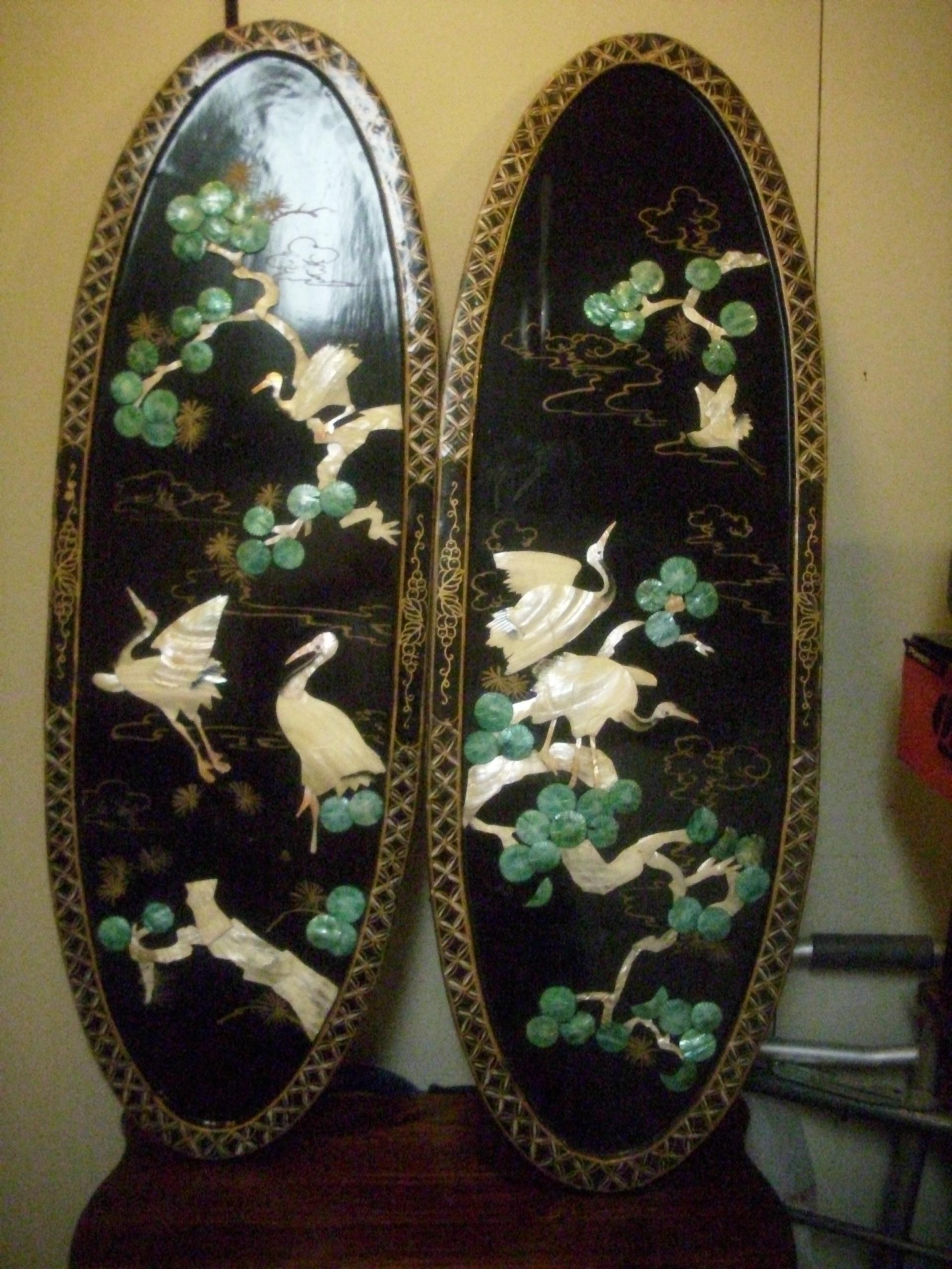 Vintage-Black Lacquered Chinese Carved Shell Mother Of Pearl Wall with Mother Of Pearl Wall Art