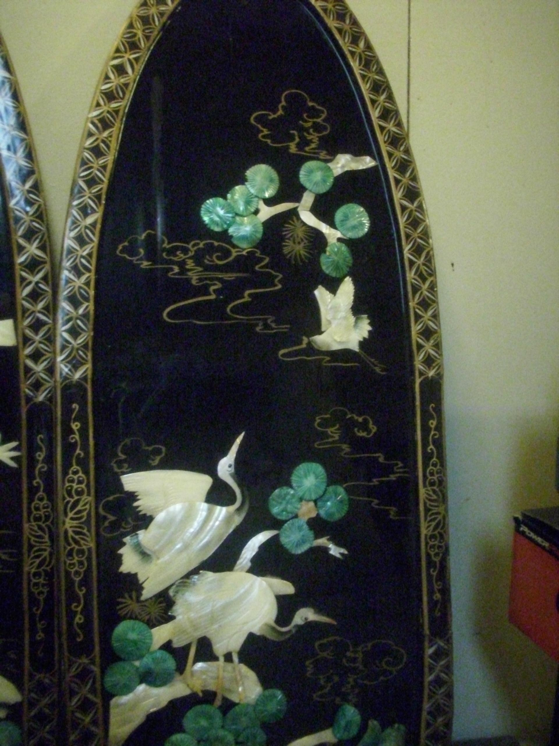 Vintage Black Lacquered Chinese Carved Shell Mother Of Pearl Wall With Regard To Mother Of Pearl Wall Art (View 15 of 20)