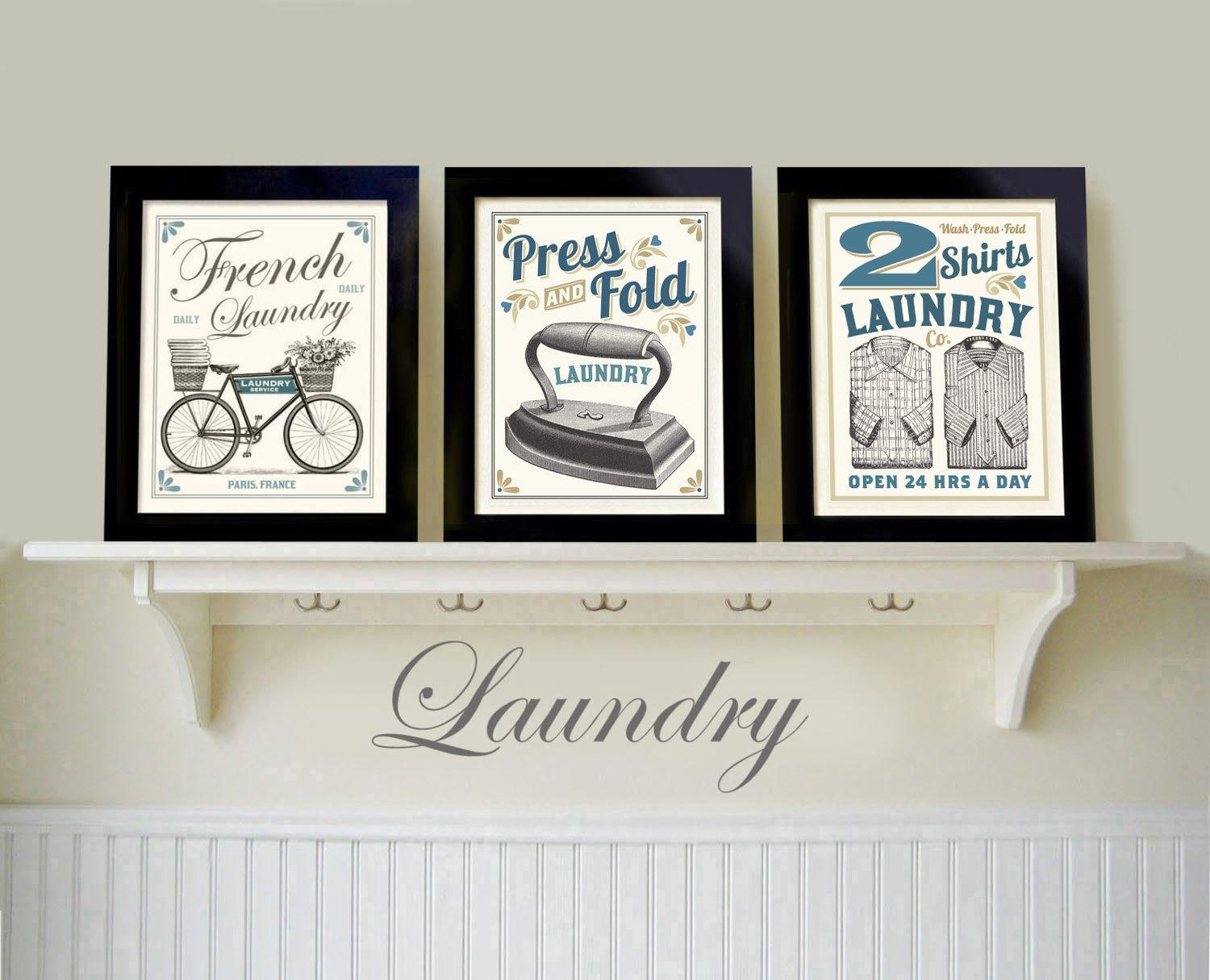 Vintage Black White Laundry Room Old Fashioned Prints French regarding Laundry Room Wall Art Decors