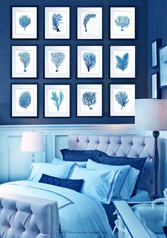 Vintage Blue Coral Wall Art Sea Fan Coral Prints Set Of 12 For Sea Fan Wall