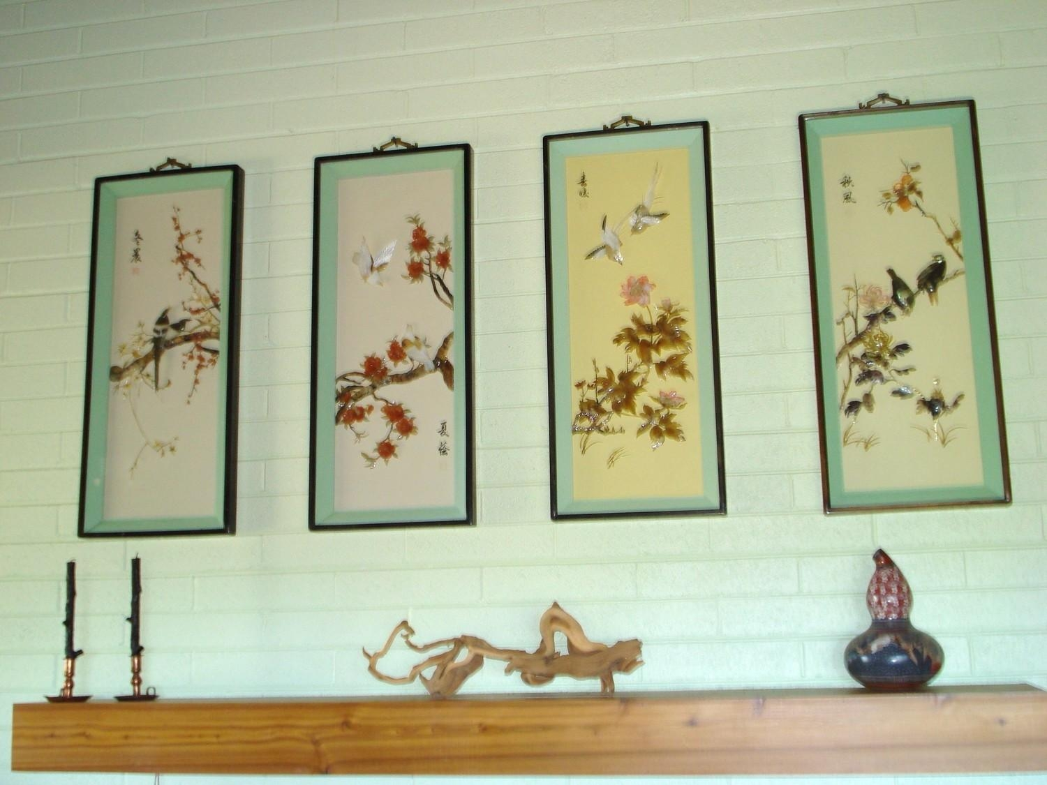 Vintage Chinese Shadow Box Pictures Of The Four Seasons Jade within Mother Of Pearl Wall Art