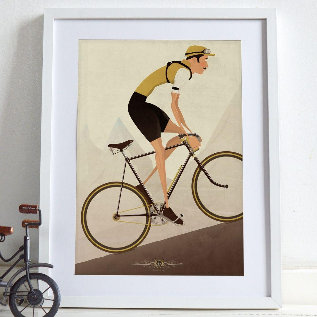 Vintage Cyclist Bicycle Poster Wall Art Bike Print - Ethical.market intended for Cycling Wall Art