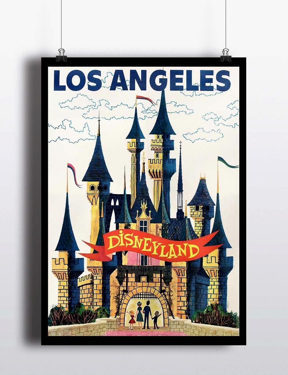 Vintage Disney Print Disneyland Print Disney Poster Los Intended For Los Angeles Wall Art (Image 20 of 20)