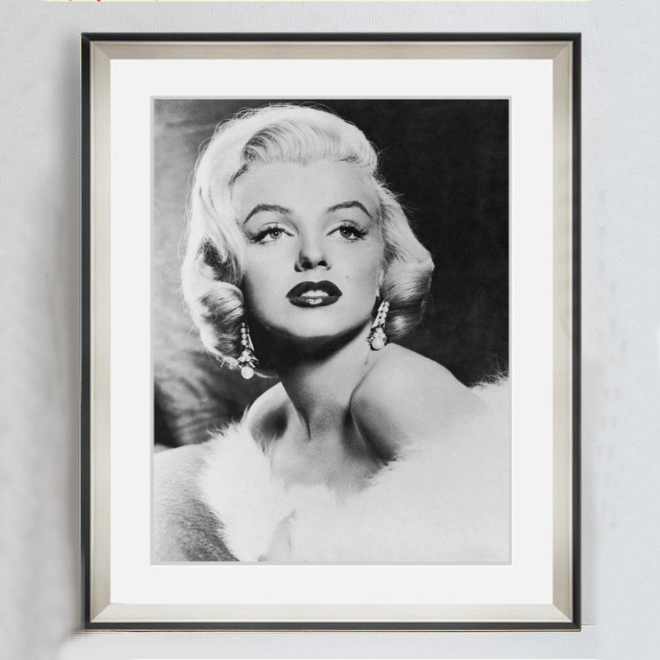 Vintage Marilyn Monroe Canvas Painting Movie Posters Black White throughout Marilyn Monroe Black and White Wall Art