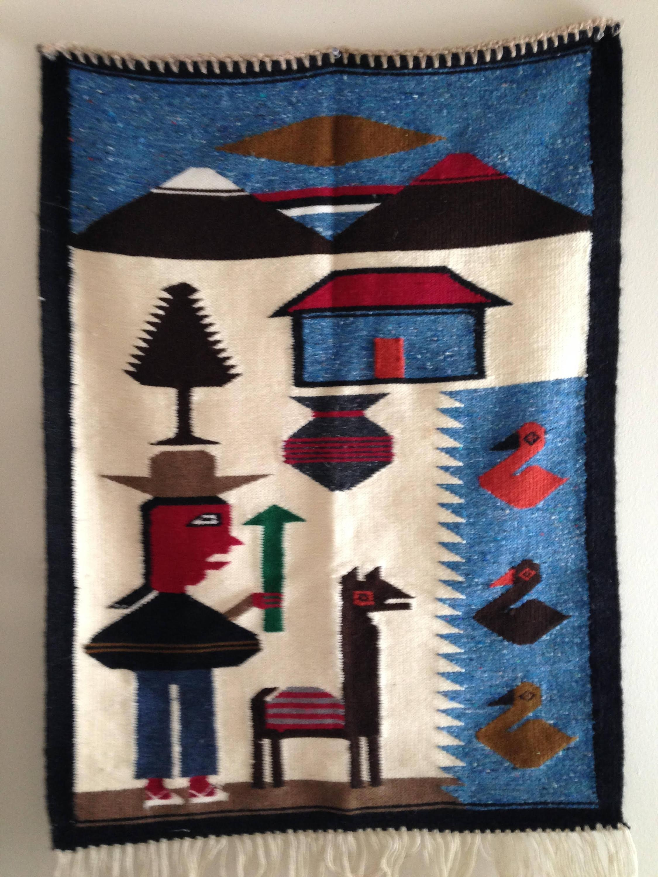 Vintage Peruvian Woven Colorful Wool Wall Hanging Rug Hand with regard to Peruvian Wall Art