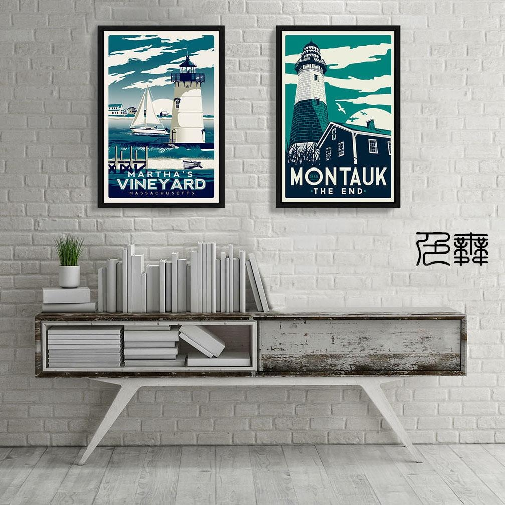 Vintage Poster Martha Vineyard Montauk Art Canvas Huge Print Intended For Vineyard Wall Art (Image 17 of 20)