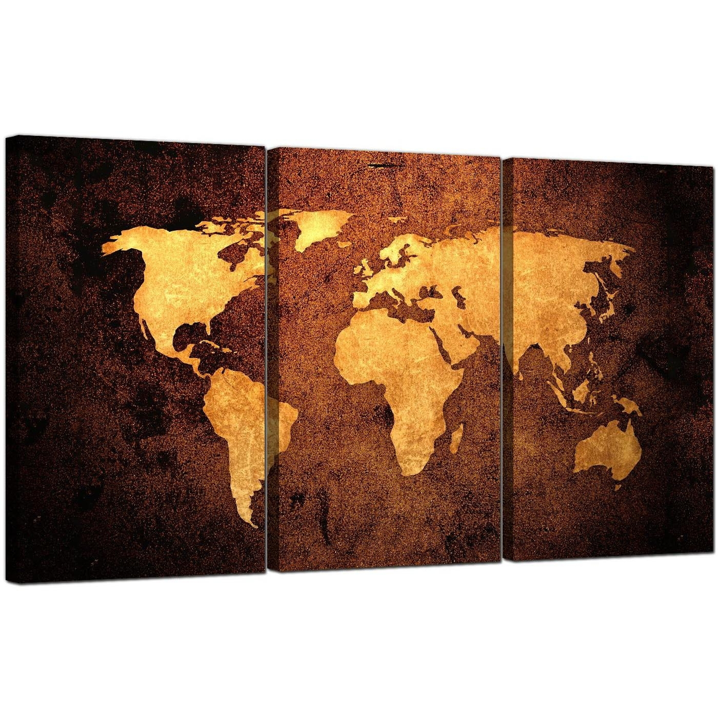 Vintage World Map Canvas Wall Art Set Of 3 For Your Bedroom For Three Panel Wall Art (Image 16 of 20)