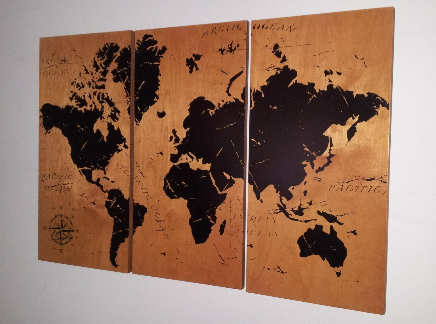 Vintage World Map Screen Print Wood Painting Wall Art On Intended For World Map Wood Wall Art (Image 10 of 20)