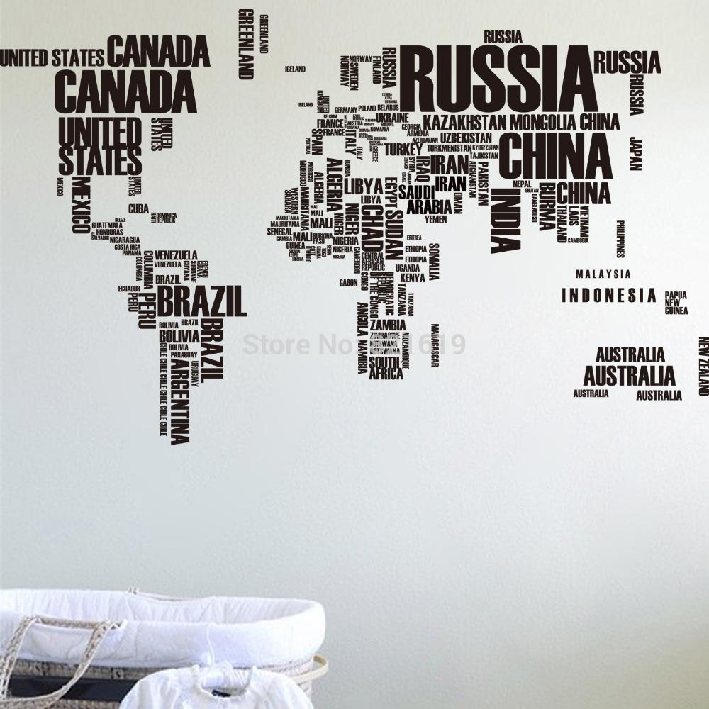 Vinyl Wall Art Decal Sticker World Map – Aliexpress : Buy Free Throughout Modern Vinyl Wall Art (Image 12 of 20)