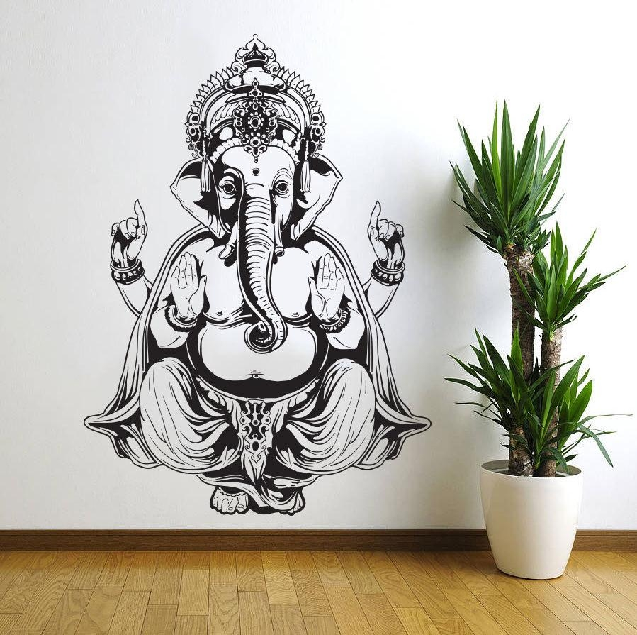 Vinyl Wall Decal Sticker Art Decor Bedroom Ganesh Elephant God With Regard To Ganesh Wall Art (Image 19 of 20)