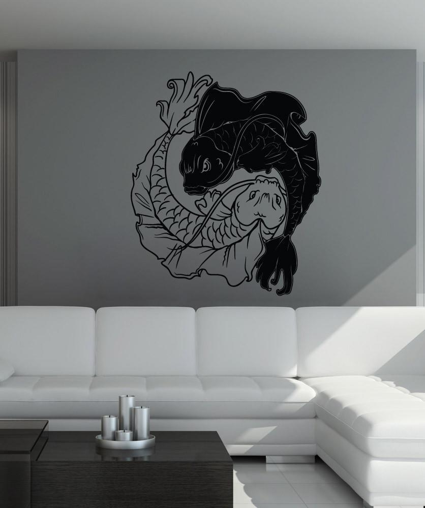 Vinyl Wall Decal Sticker Koi Fish Yin From Stickerbrand | Quick with Yin Yang Wall Art