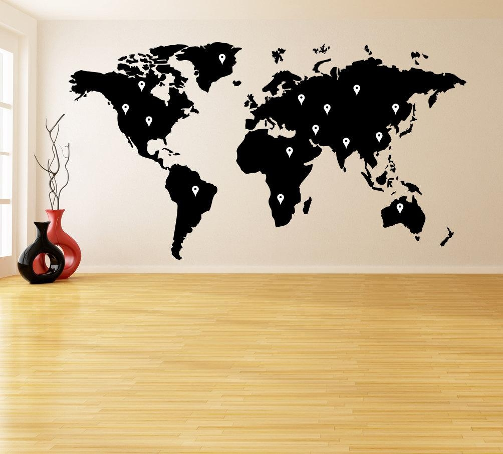 Vinyl Wall Decal World Map With Google Dots / Earth Atlas For Atlas Wall Art (View 13 of 20)