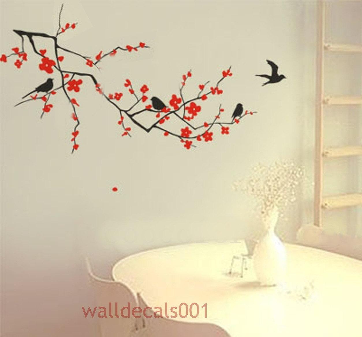 Vinyl Wall Decals Wall for Red Cherry Blossom Wall Art