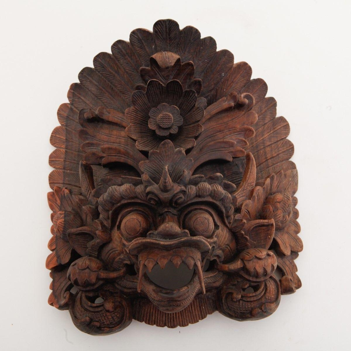 Vtg Balinese Lion Mask Hand Carved Traditional Hanging Indonesian intended for Balinese Wall Art