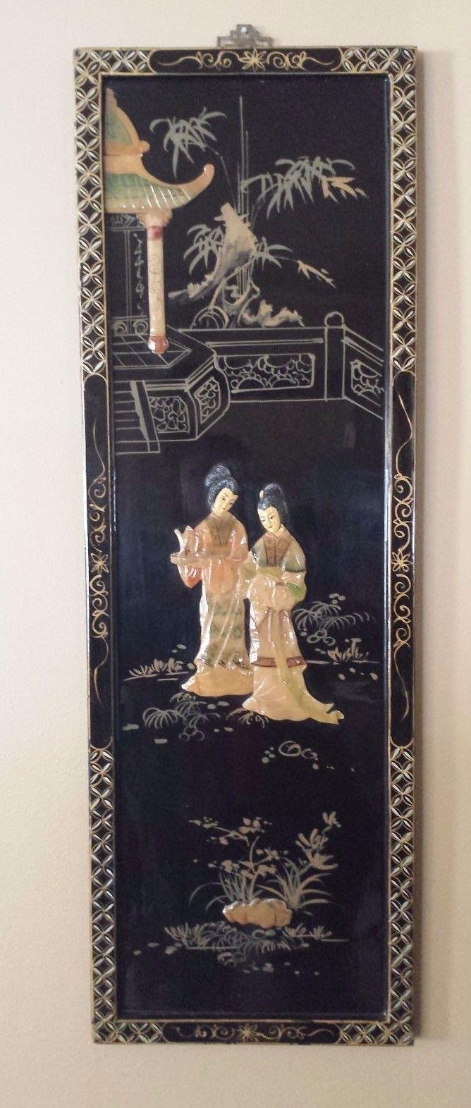 Vtg Chinese Carved Shell Mother Of Pearl Wall Art Black Lacquer 3D with Mother of Pearl Wall Art