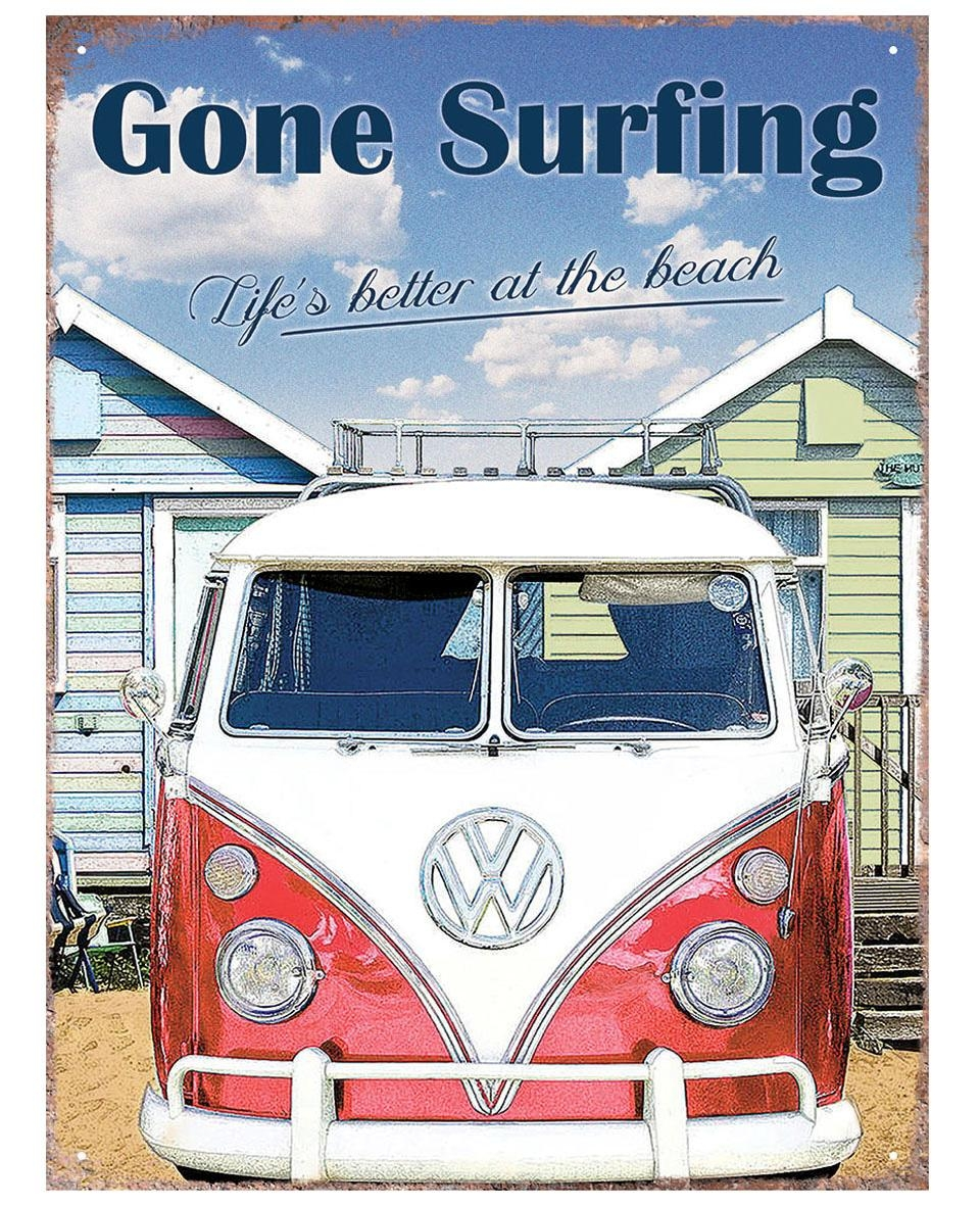 Vw Camper Gone Surfing Tinplate Metal Plaque Wall Art Sign New | Ebay inside Campervan Metal Wall Art