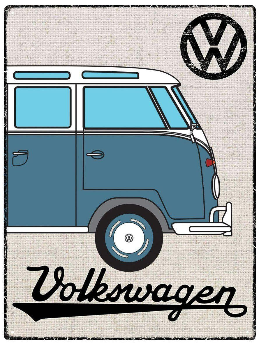 Vw Campervan Wall Art - Metal - Hessian Blue intended for Campervan Metal Wall Art
