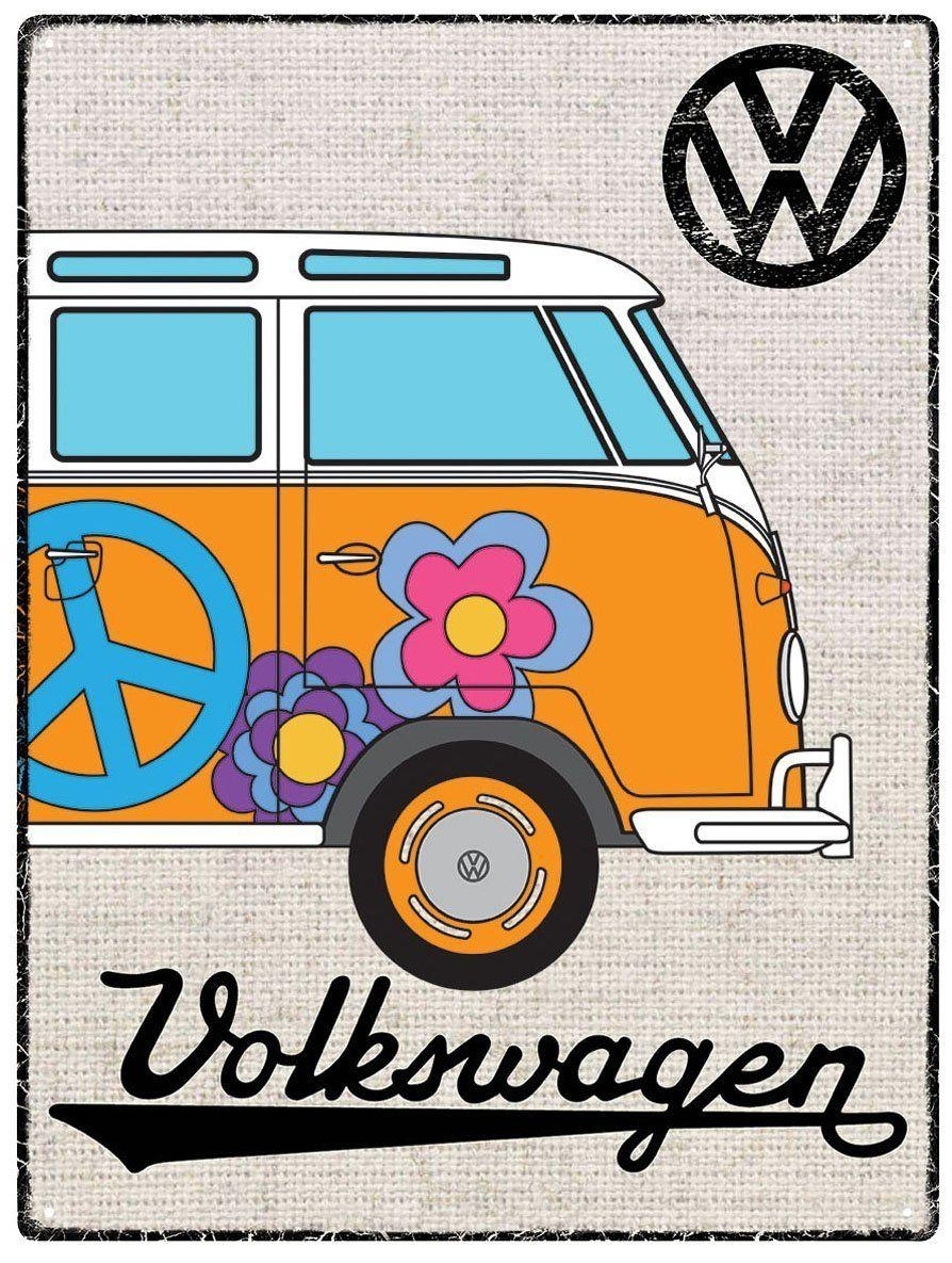 Vw Campervan Wall Art - Metal - Hessian Orange with regard to Campervan Metal Wall Art