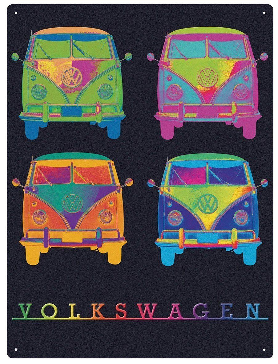 Vw Campervan Wall Art - Metal - Neon Quad for Campervan Metal Wall Art