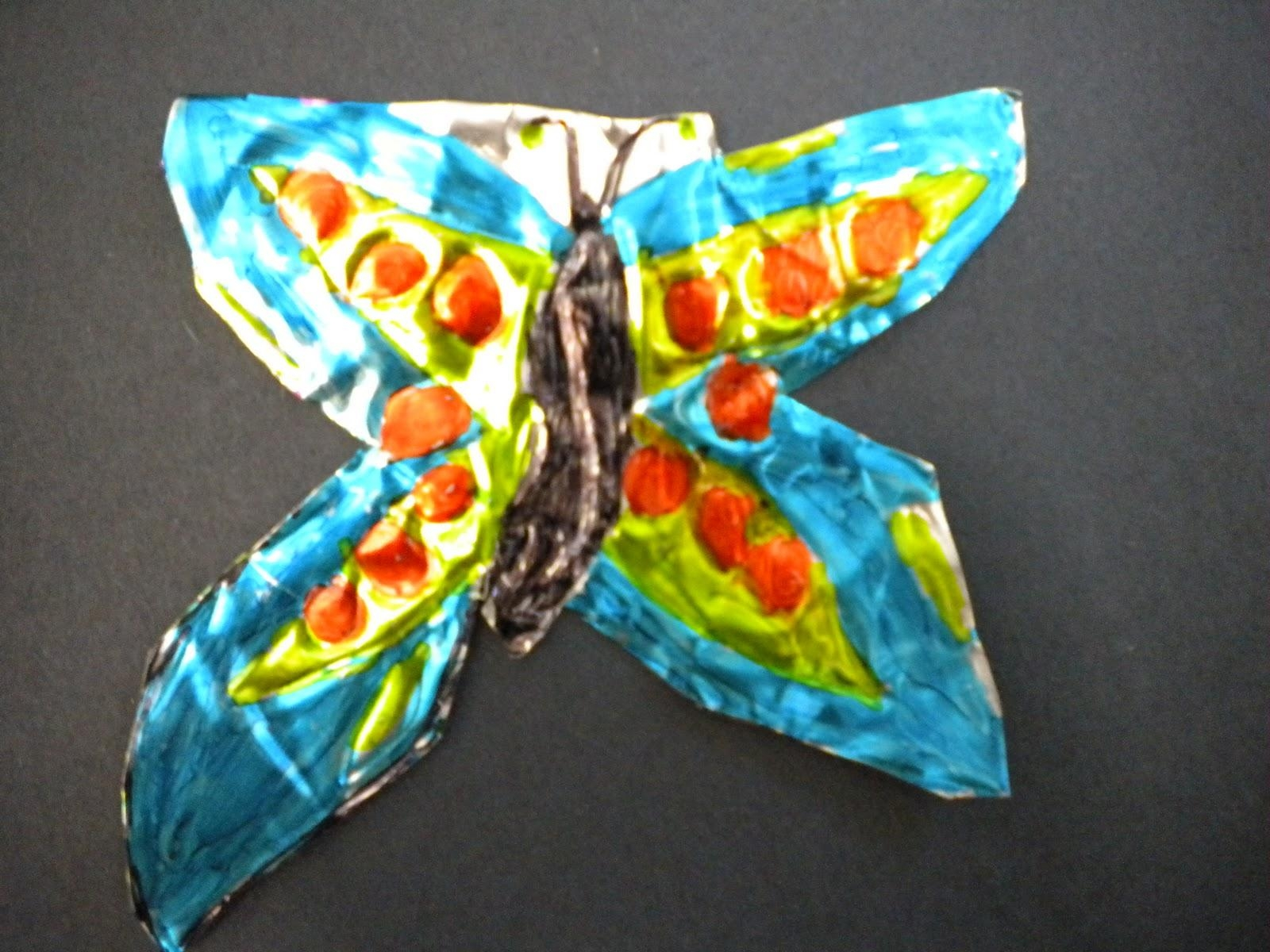 Waitsfield Elementary Art: Mexican Metal Tooling Butterflies In Mexican Metal Art (Image 20 of 20)