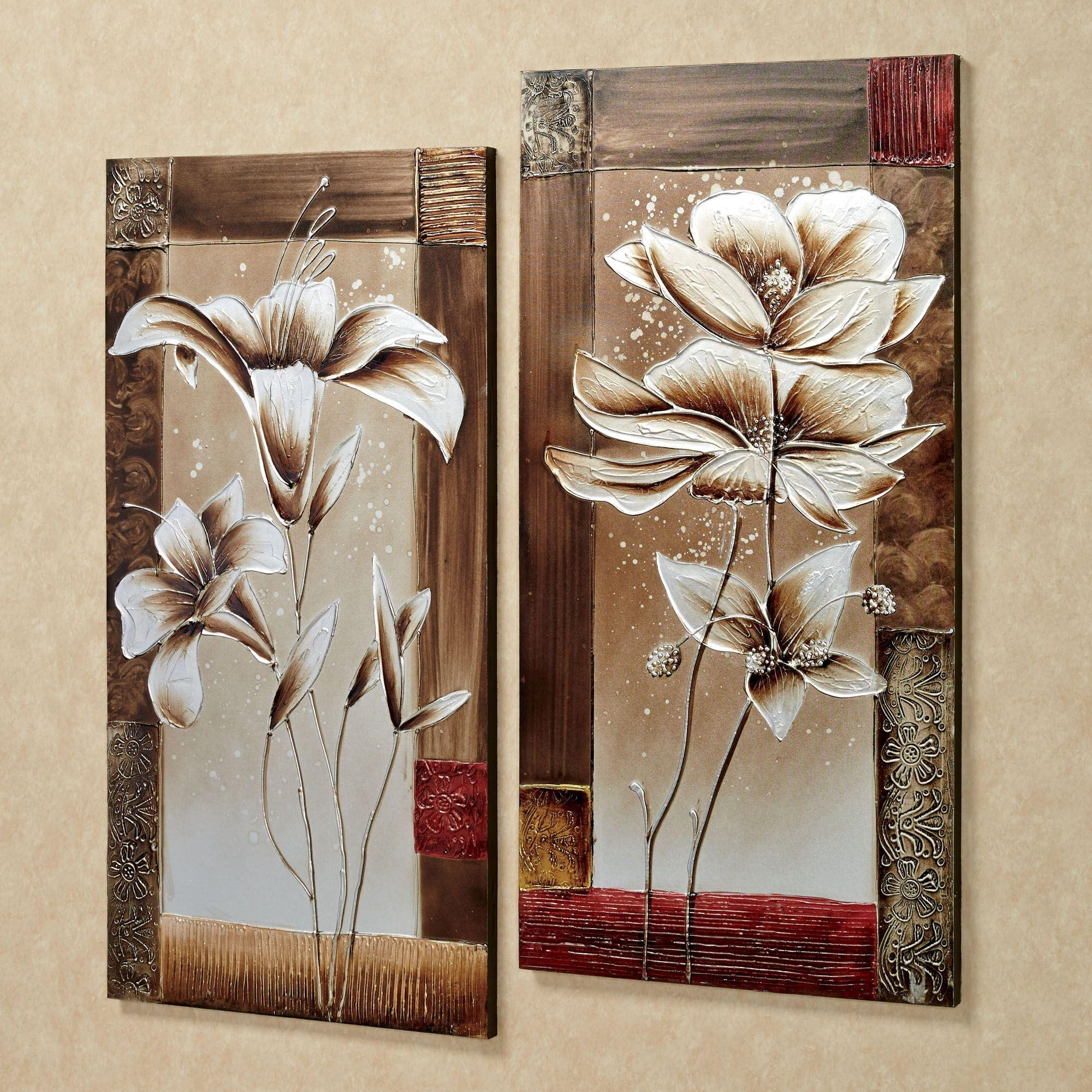 Wall Art: Awesome Floral Canvas Wall Art Wrapped Canvas Floral Intended For Botanical Metal Wall Art (View 15 of 20)