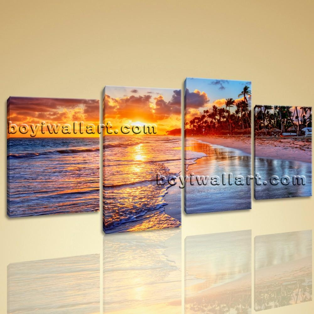 Wall Art Contemporary Landscape Painting Sunset Beach Picture With Regard To Canvas Landscape Wall Art (View 9 of 20)