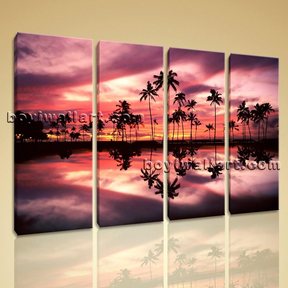 Wall Art Contemporary Landscape Sunset Palm Tree Beach Picture With Huge Wall Art Canvas (View 19 of 20)