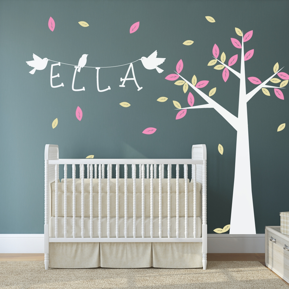 Wall Art Decor Birch Tree Wall Art Stickers Nursery Personalized Intended For Personalized Baby Wall Art (Image 8 of 20)