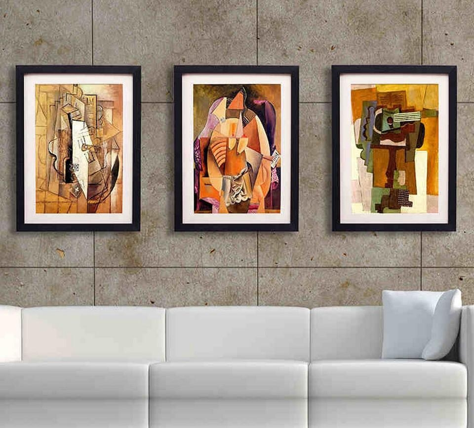 Wall Art Decor: Gray Stain Framed Wall Art For Living Room Frame Pertaining To Uk Contemporary Wall Art (View 10 of 20)