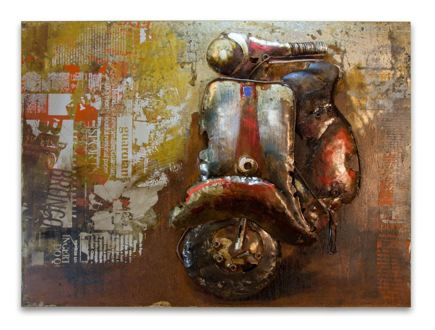 Wall Art Decor: Scooter Crafted Italian Metal Wall Art Handmade Throughout Funky Metal Wall Art (View 8 of 20)