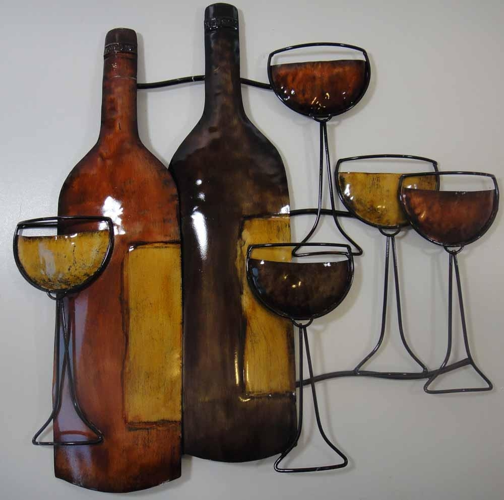 Wall Art Design Ideas: Awesome Pouring Wine Metal Wall Art Pertaining To Wine Metal Wall Art (Image 15 of 20)
