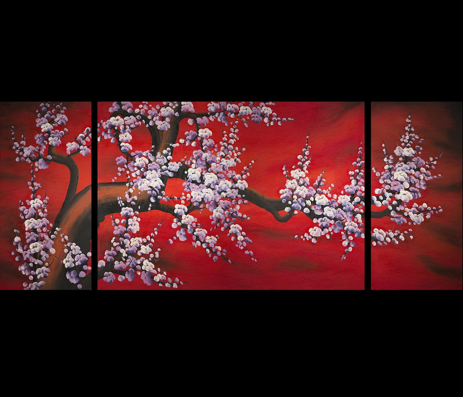 Wall Art Design Ideas: Flower Chinese Wall Art Simple Multi Panel For Asian Wall Art Panels (View 2 of 20)