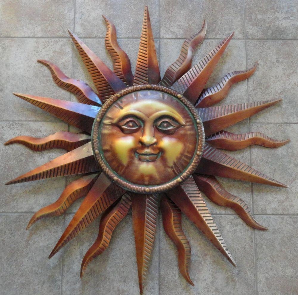 Wall Art Design Ideas: Large Copper Sun Face Wall Art Patina Pertaining To Large Metal Wall Art For Outdoor (Image 14 of 20)