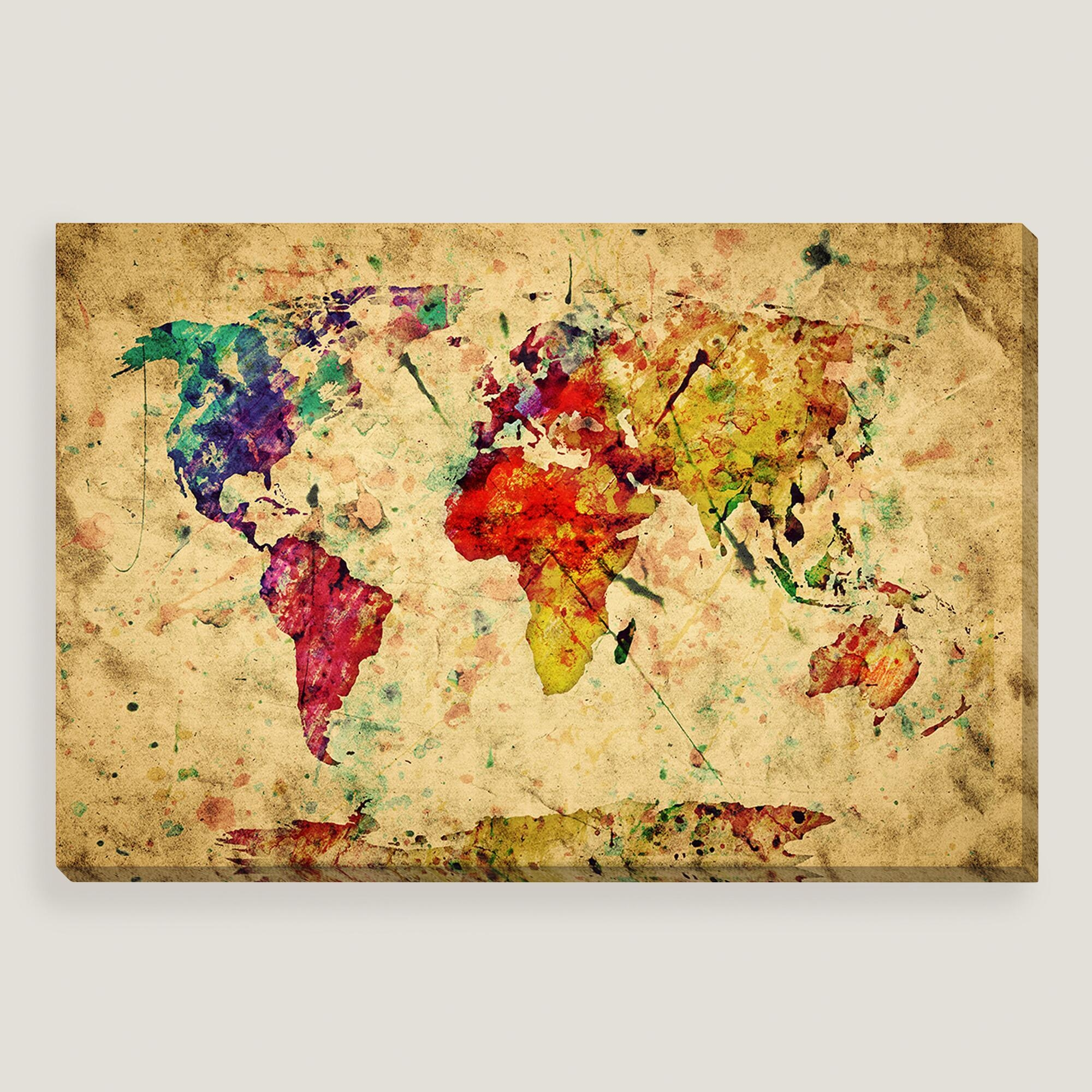 Wall Art Design Ideas: Modern Painting Vintage World Map Wall Art Regarding Vintage Map Wall Art (Image 17 of 20)