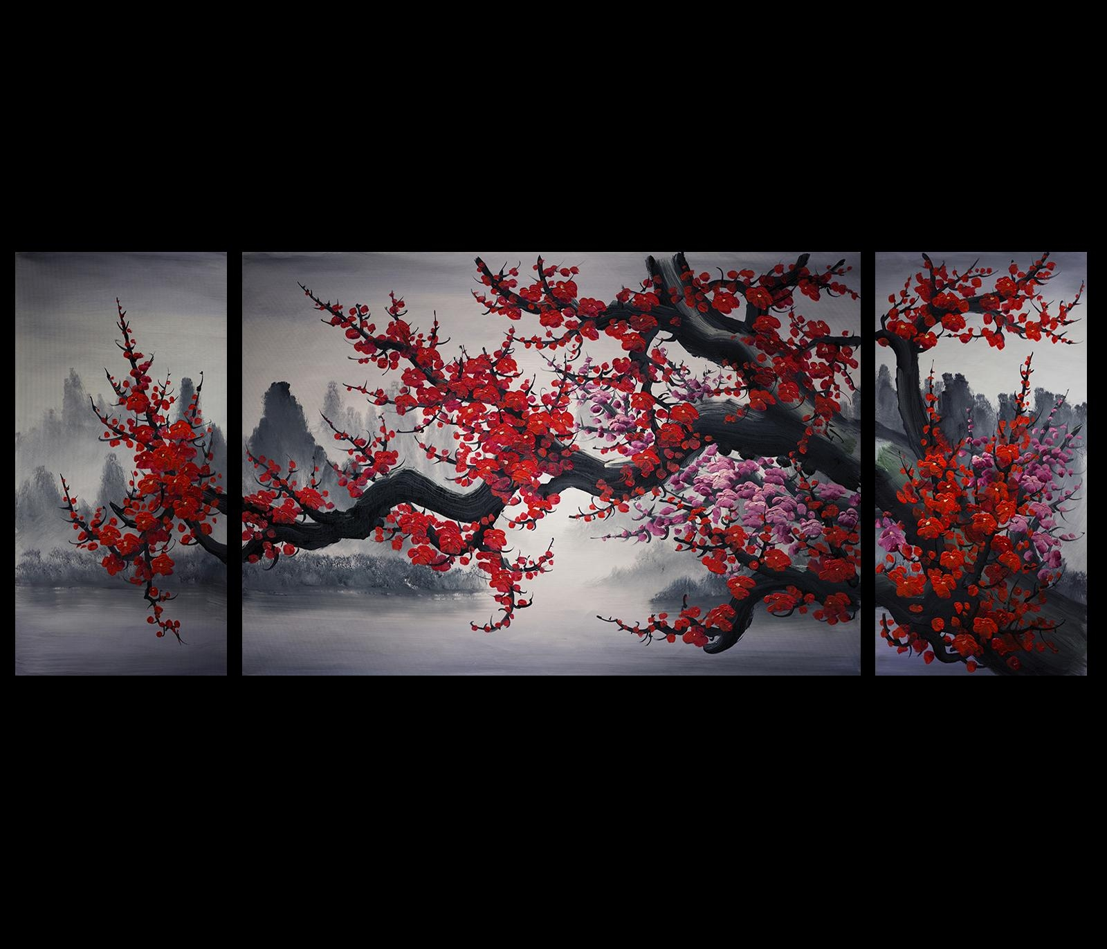 Wall Art Design Ideas: Mountain Red Colors Chinese Wall Art With Asian Wall Art Panels (Image 17 of 20)