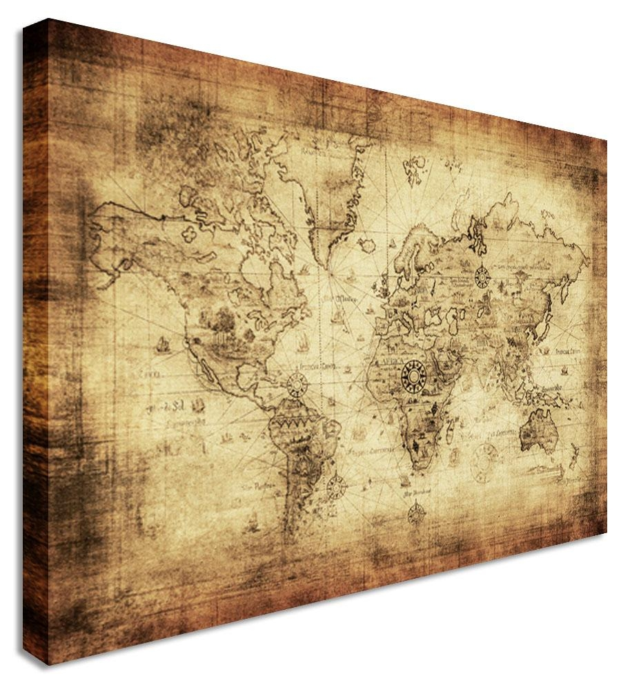 Wall Art Design Ideas: Wooden Canvas Vintage World Map Wall Art In Large Vintage Wall Art (Image 17 of 20)