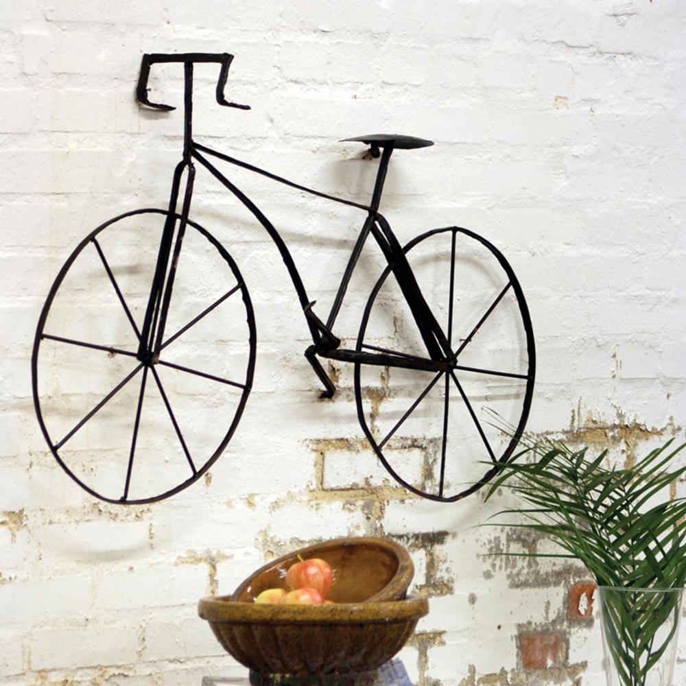 Wall Art Designs: Amazing Metal Wall Art Bicycle Wire Sculpture Regarding Bicycle Metal Wall Art (Image 16 of 20)