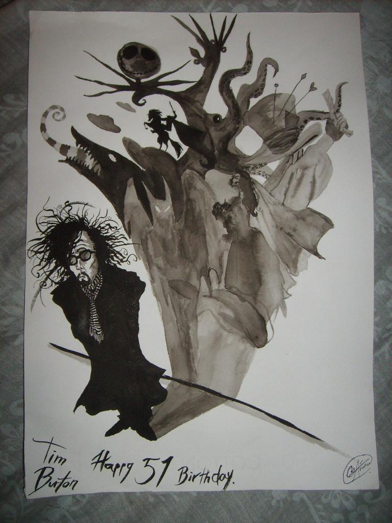 Wall Art Designs: Awesome Drawing Tim Burton Wall Art Using In Tim Burton Wall Decals (Image 19 of 20)